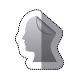 Sticker silhouette silver head human with fold Stock Image
