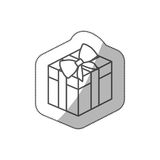 Sticker silhouette square gift box with bow wrapping. Illustration Royalty Free Stock Photo