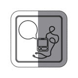sticker silhouette square shape with tech portable music device with headphones and dialog box Stock Image