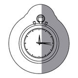 Sticker silhouette stopwatch graphic icon flat Stock Image
