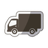 Sticker silhouette transport truck with wagon Royalty Free Stock Photography
