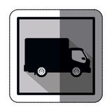 Sticker silhouette transport truck with wagon and wheels Royalty Free Stock Images
