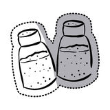 Sticker silhouette two salt shaker icon flat Stock Images
