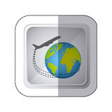 sticker silver square button with airplane around earth world Stock Images