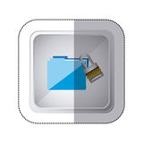Sticker silver square button with blue folder wit paclock closed Royalty Free Stock Photo