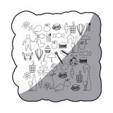 Sticker sketch contour set elements daily life icon Stock Photography