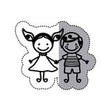 sticker sketch silhouette caricature couple boy with curly hair and girl with dress Stock Image