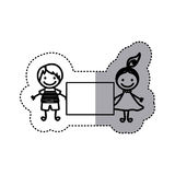 Sticker sketch silhouette caricature couple boy and girl with hair tail and banner Stock Photography