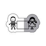 Sticker sketch silhouette caricature couple boy with hairstyle and girl with hair pigtails with banner Royalty Free Stock Photo