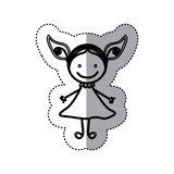 sticker sketch silhouette caricature girl with dress Stock Images