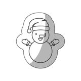 Sticker sketch silhouette cartoon snowman christmas design. Illustration Royalty Free Stock Images