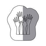 sticker sketch silhouette set hands raised icon Royalty Free Stock Photos