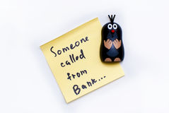 Sticker - Someone called from the Bank and funny mole Royalty Free Stock Photo