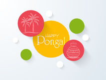 Sticker for South Indian festival, Happy Pongal. Royalty Free Stock Photo