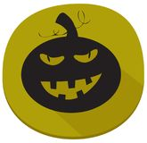 Sticker with spooky halloween pumpkin. Green halloween sticker with spooky pumpkin. Halloween theme clean design Stock Photos