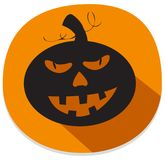 Sticker with spooky halloween pumpkin. Orange halloween sticker with spooky pumpkin. Halloween theme clean design Royalty Free Stock Image