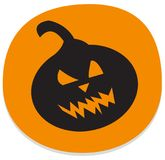 Sticker with spooky halloween pumpkin. Orange halloween sticker with spooky pumpkin. Halloween theme clean design Stock Images