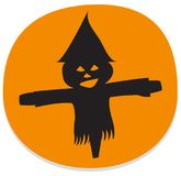 Sticker with spooky halloween scarecrow. Orange halloween sticker with spooky scarecrow. Halloween theme clean design Stock Photo