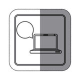 sticker square button silhouette laptop computer with sphere dialogue Royalty Free Stock Photos