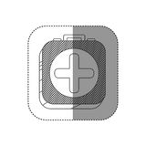Sticker square silhouette button with contour first aid kit. Illustration Royalty Free Stock Images