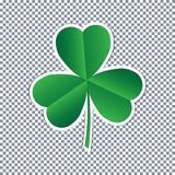 Vector three leaf clover sticker flat icon on transparent background vector illustration