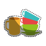 Sticker stack of colorful coffee cups Royalty Free Stock Image