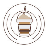 Sticker stamp circular with glass disposable of cappuccino with Skinny drinks. Illustration Stock Photos