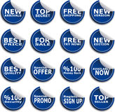Sticker Star Set. Blue Sticter Set for New Productions Royalty Free Stock Photography