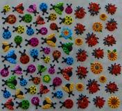Sticker. Sticky labels.lady beetle, flower symbols. enjoyable Stock Photography