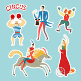 Sticker style circus characters cartoon illustration Royalty Free Stock Photo