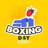 Sticker style with surprise gift box and boxing glove on yellow. Halftone background for Boxing Day sale template or flyer design vector illustration