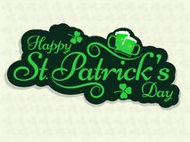 Sticker style text Happy St. Patrick`s Day with beer mugs. Sticker style text Happy St. Patrick`s Day with beer mugs on seamless background vector illustration