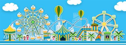 Sticker style theme park view with illustration of carousels, roller coaster and hot air balloons. Sticker style theme park view with illustration of carousels royalty free illustration