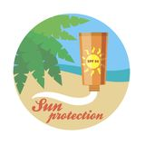 Sticker sunscreen illustration Stock Image