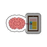 Sticker tablet and usb connected to brain. Illustration Stock Image