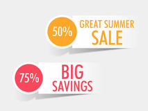 Sticker, tag or label of Big Sale with discount offer. Great Summer Sale with big discounts offer, stylish sticker, tag or label design Stock Photo