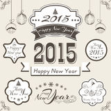 Sticker, tag or label for Christmas and New Year 2015 celebratio. Happy New Year 2015 and Merry Christmas celebration ribbon, sticker, tag or label Stock Photography
