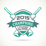 Sticker, tag or label design for Cricket Champions League. Royalty Free Stock Image