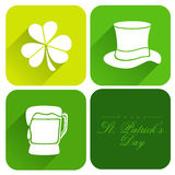 Sticker, tag or label for Happy St. Patricks Day. Creative sticker, tag or label design with St. Patricks Day ornaments on white background Stock Images