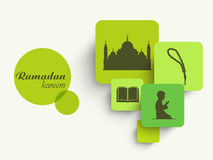 Sticker, tag or label with Islamic elements for Ramadan Kareem celebration. Stock Images