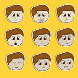 Sticker, tag or label set with different expressions. Set of different facial expressions with a little boy cartoon on yellow background Stock Images