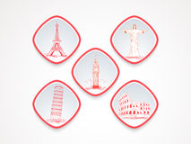 Sticker, tag or label for vacations with famous landmarks. Stock Photo