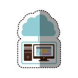 Sticker tech computer with cloud storage server icon stock Stock Photo