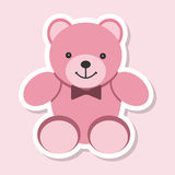 Sticker teddy bear. Isolated on background. Vector illustration flat design Stock Images