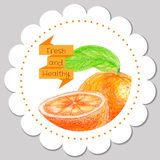 Sticker Template. Healthy And Fresh Orange. Royalty Free Stock Image