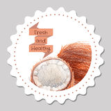 Sticker template. Healthy and fresh coconut. Stock Photography