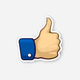 Sticker thumb up symbol of like. Vector illustration. Thumb up symbol of like. Sticker in cartoon style with contour. Decoration for greeting cards, patches Stock Photos