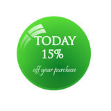 Sticker today 15% sale. Sticker today sale. Glossy mirror button Royalty Free Stock Photos
