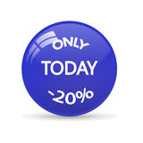 Sticker only today sale. Glossy mirror button Royalty Free Stock Image