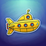 Sticker of toy yellow submarine floating deep under water. Vector illustration. Toy yellow submarine floating deep underwater. Sticker in cartoon style with Royalty Free Stock Images